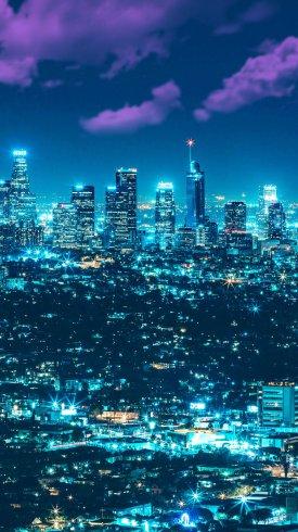 عکس زمینه چراغ های روشن در شب شهر لس آنجلس