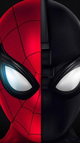 عکس زمینه صورت مرد عنکبوتی قرمز و مشکی