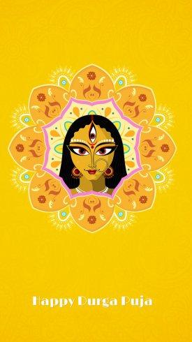 عکس زمینه زن سه چشم در جشنواره دورگا پوجا هندی