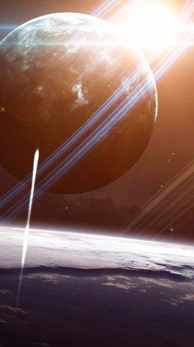عکس زمینه تخیلی سفینه فضایی سیاره زمین