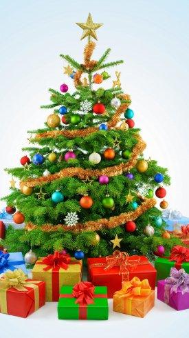 عکس زمینه دکوراسیون درخت کریسمس و هدایا