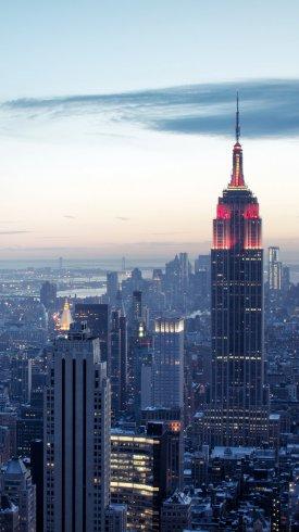 عکس زمینه آسمان خراش و ساختمان امپایر استیت در شهر نیویورک