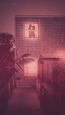 عکس زمینه زن و شوهر رمانتیک از نمای پنجره