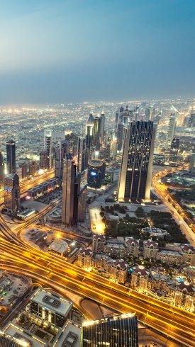 عکس زمینه آسمان خراش های شهر دبی در امارات