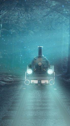 عکس زمینه قطار رویایی در جنگل رویایی