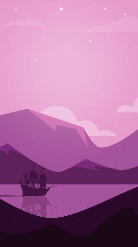 عکس زمینه چشم انداز کوه دریا با رنگ بنفش
