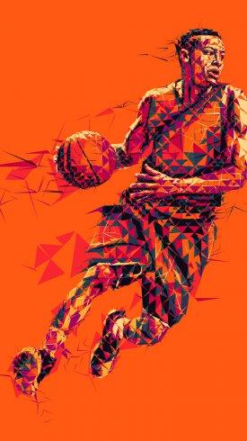 عکس زمینه عکس موزاییکی بازیکن بسکتبال