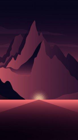 عکس زمینه نقاشی کوه ها در تاریکی سحر