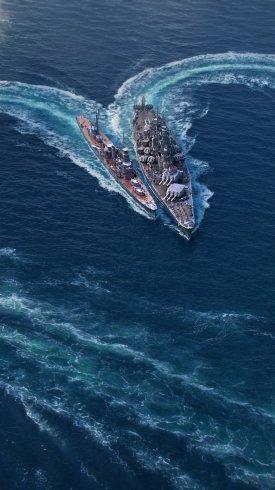 عکس زمینه ترسیم شکل قلب با کشتی های جنگی