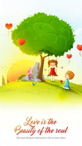 عکس زمینه کودکان و بادکنک هایی به شکل قلب