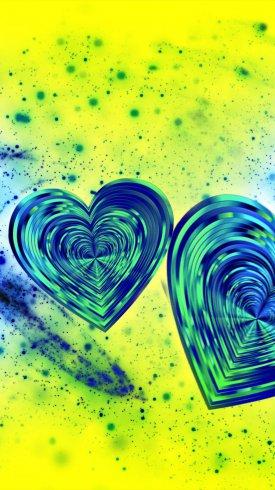 عکس زمینه قلب های آبی رنگ در صفحه زرد