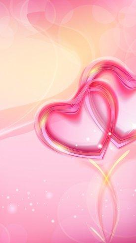 عکس زمینه قلب های درآمیخته به رنگ صورتی