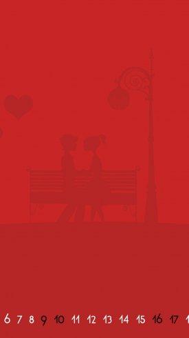 عکس زمینه تقویم قرمز ماه فوریه و زن و شوهر عاشق