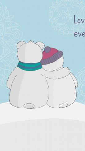عکس زمینه دو آدم برفی با آغوش گرم در زمستان