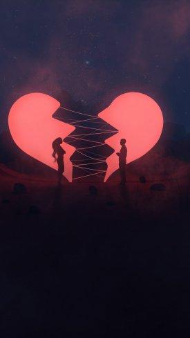 عکس زمینه پسر و دختر در میان قلب های شکسته در شب