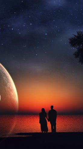 عکس زمینه عاشقان رویایی در شب ستاره ماه عشق