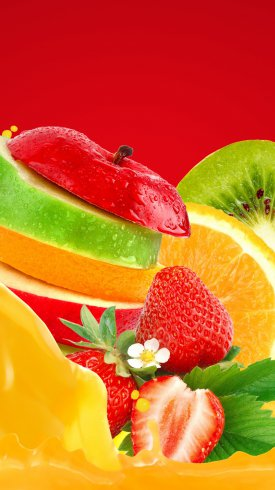 عکس زمینه میوه های رنگارنگ توت فرنگی موز سیب کیوی و پرتقال