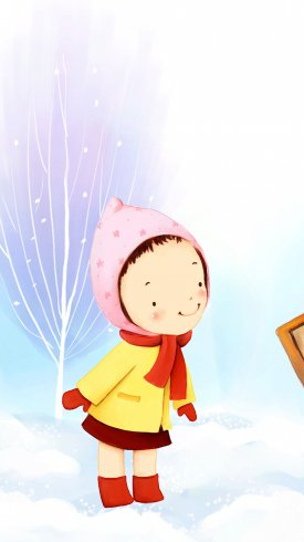 عکس زمینه کارتونی رویایی کودک در برف زمستانی ناز